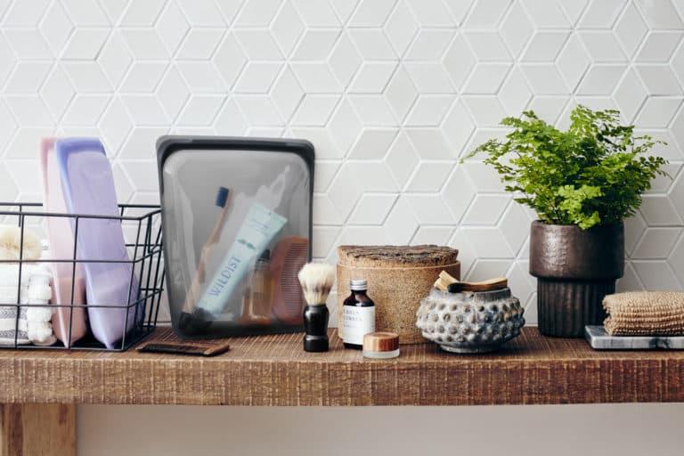Stasher bag bath shelf
